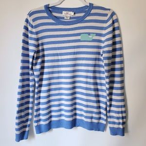 Vineyard Vines blue and white striped sweater sz S